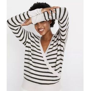 Madewell Wrap-Front Sweater in Elthorne Stripe